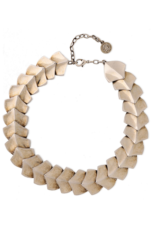 Roberto Cavalli | Roberto Cavalli Woman Snake Scale Burnished Silver-tone Bracelet | Clouty