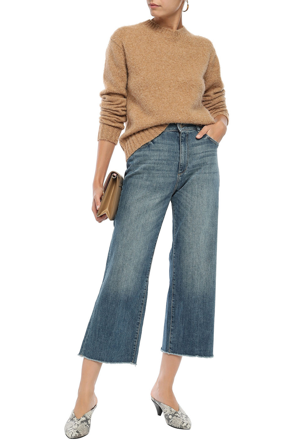 Dl1961 | Dl1961 Woman Palmer Cropped Distressed High-rise Wide-leg Jeans Mid Denim | Clouty