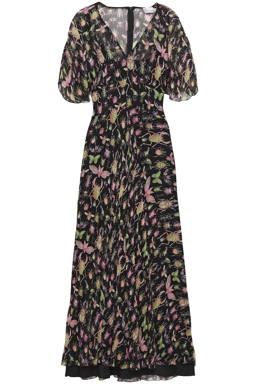 VALENTINO RED | Redvalentino Woman Printed Silk-georgette Midi Dress Black | Clouty