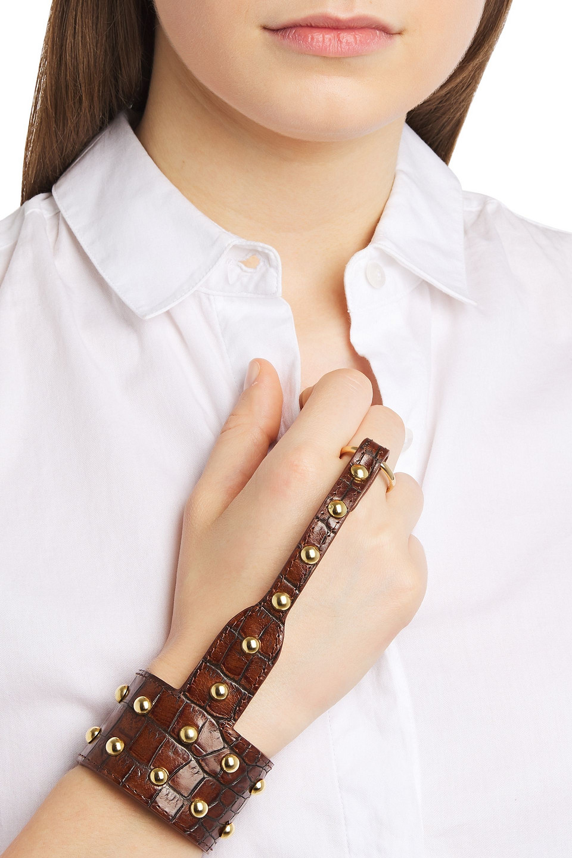 BALMAIN | Balmain Woman Studded Croc-effect Leather Hand Bracelet Brown | Clouty