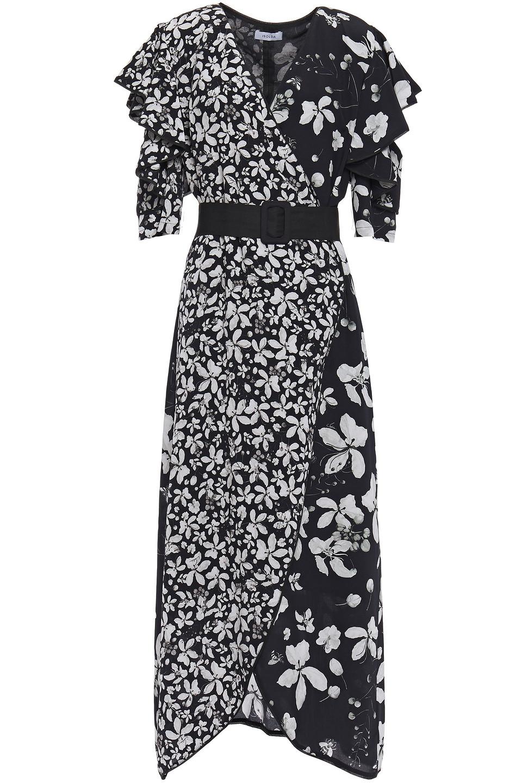 Isolda | Isolda Woman Wrap-effect Floral-print Silk Crepe De Chine Midi Dress Black | Clouty