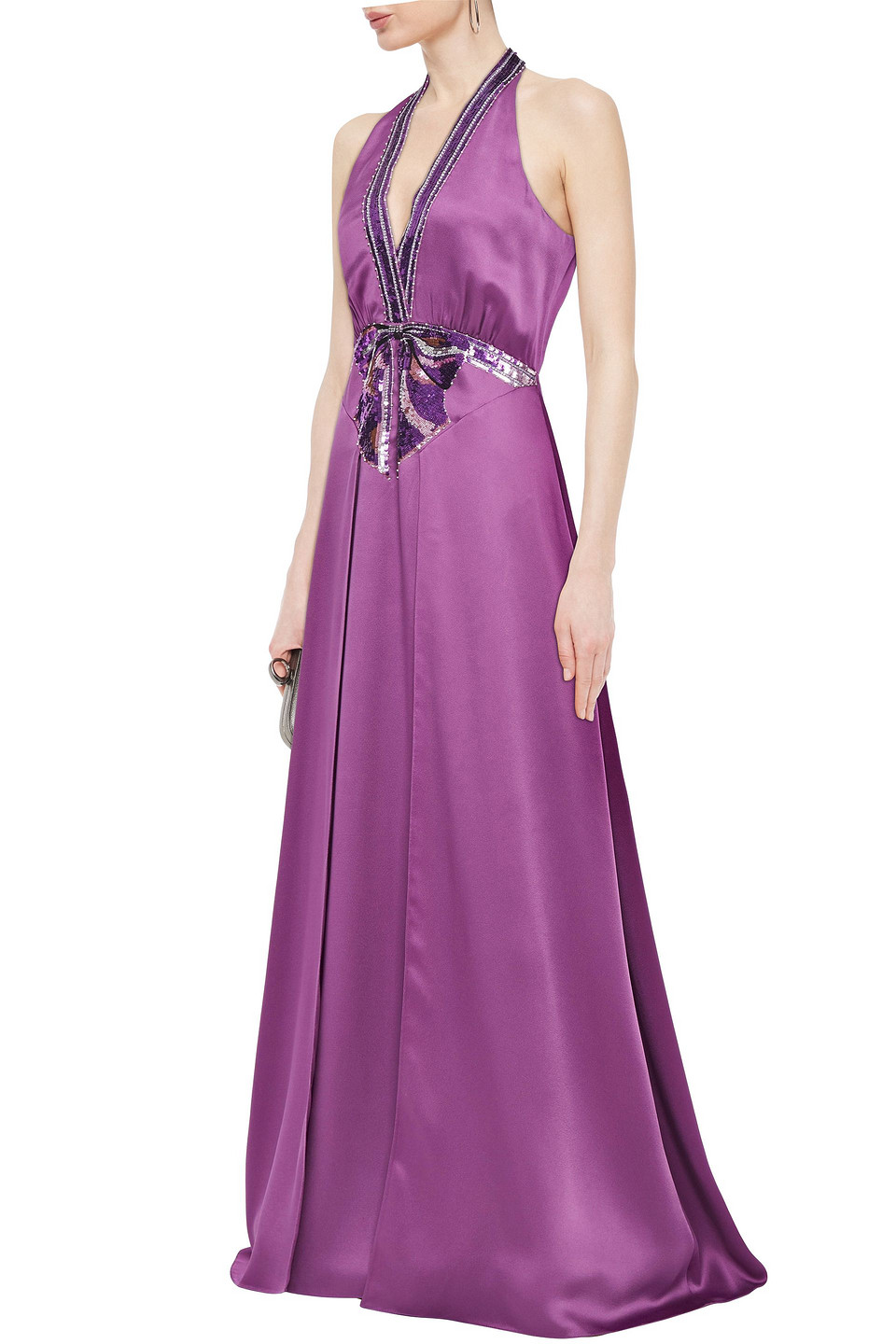 Temperley London | Temperley London Woman Embellished Satin-crepe Gown Violet | Clouty