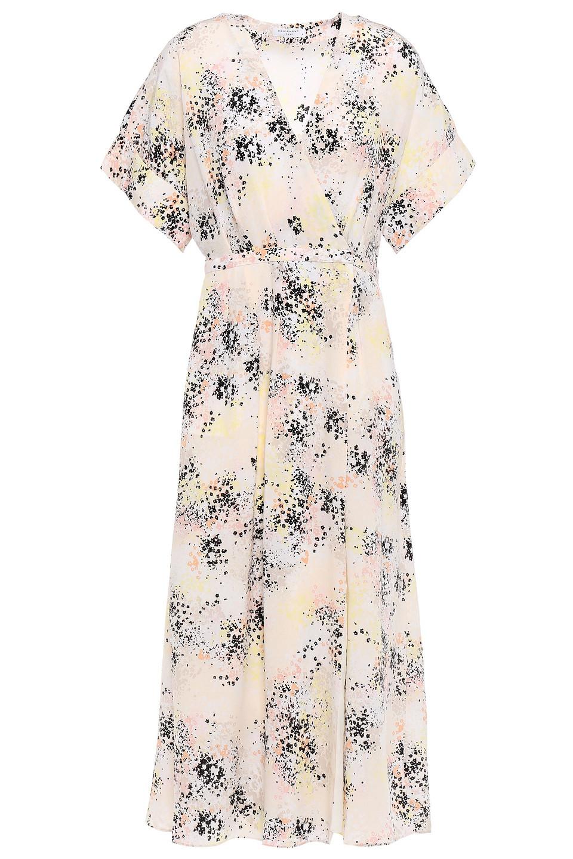 Equipment | Equipment Woman Pleated Printed Silk-crepe Midi Wrap Dress Ecru | Clouty