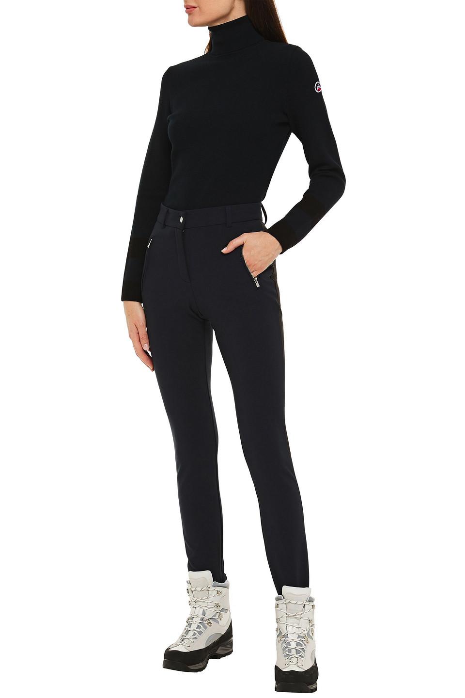 FUSALP | Fusalp Woman Paneled Appliqued Striped Stretch-knit Turtleneck Sweater Midnight Blue | Clouty