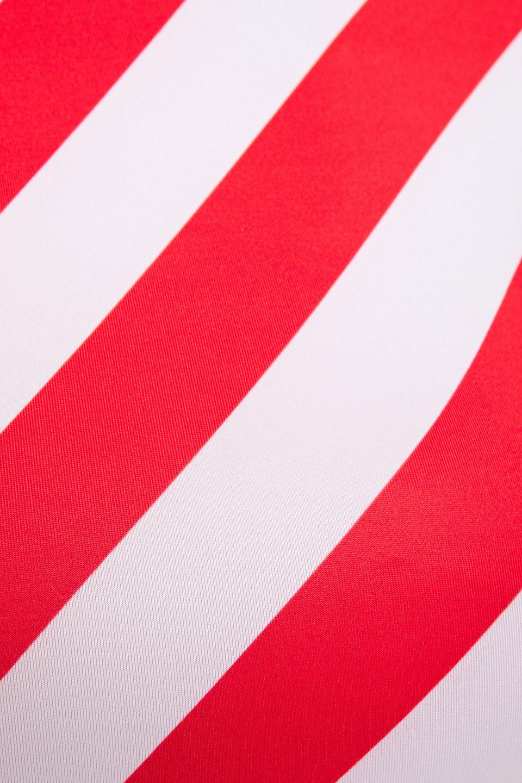 Duskii | Duskii Woman Cropped Striped Rash Guard Tomato Red | Clouty