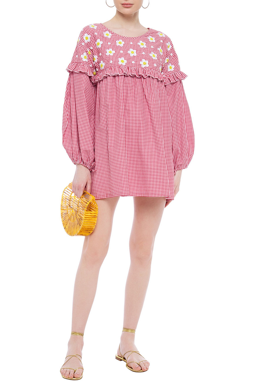 Sundress | Sundress Woman Embellished Ruffled Gingham Cotton-blend Dress Red | Clouty