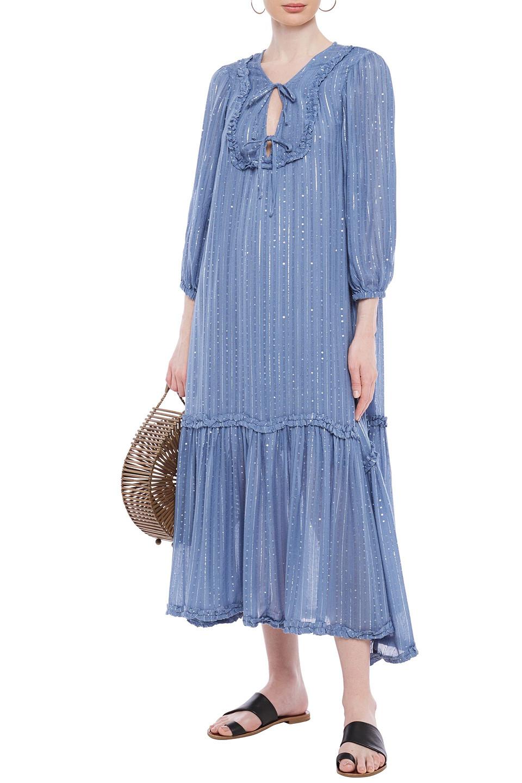 Sundress | Sundress Woman Ruffle-trimmed Embellished Metallic Gauze Midi Dress Light Blue | Clouty