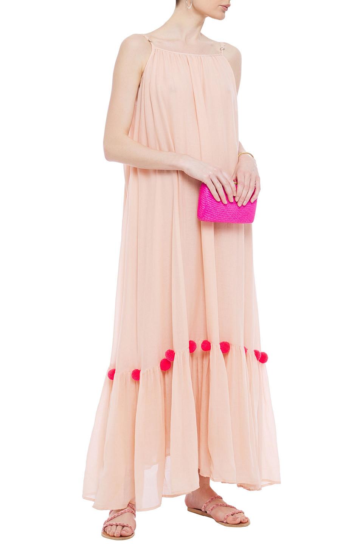 Sundress | Sundress Woman Pompom-embellished Gathered Cotton-gauze Maxi Dress Peach | Clouty