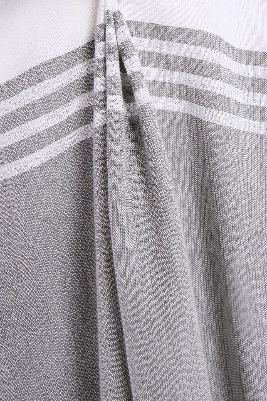 Sundress | Sundress Woman Elenora Gathered Striped Cotton And Lurex-blend Midi Dress Light Gray | Clouty