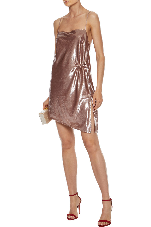 Michelle Mason | Michelle Mason Woman Asymmetric Ruched Tinsel Mini Dress Antique Rose | Clouty
