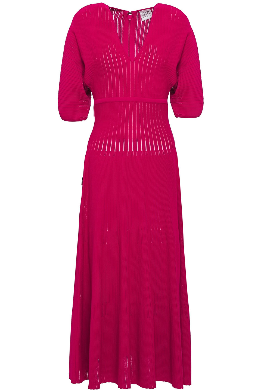 Hervé Léger | Herve Leger Woman Ribbed-knit Midi Dress Fuchsia | Clouty