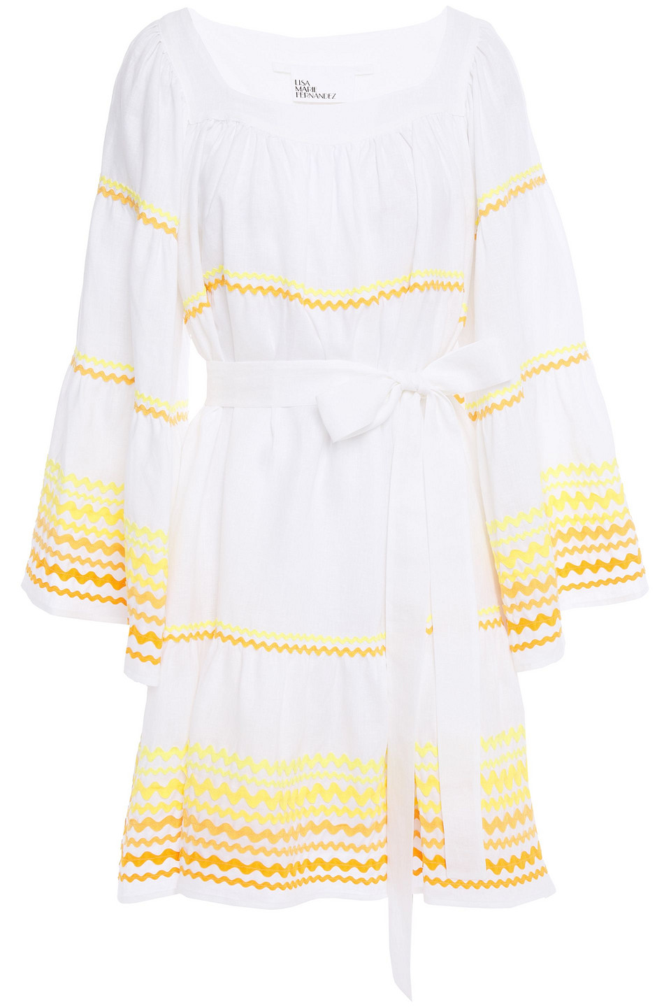 Lisa Marie Fernandez | Lisa Marie Fernandez Woman Belted Rickrack-trimmed Linen Mini Dress White | Clouty