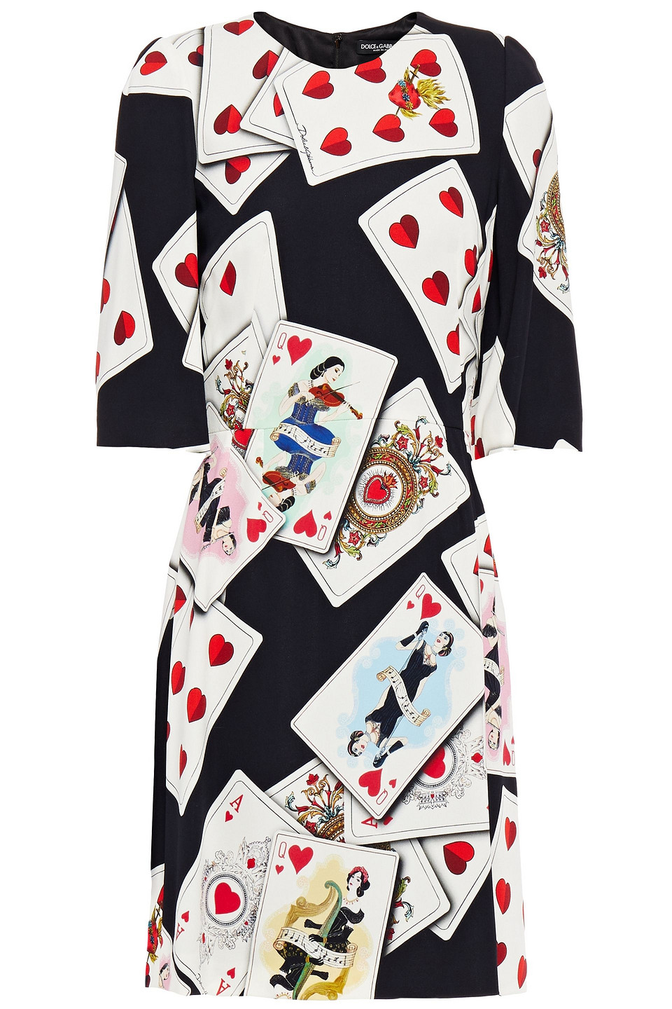 Dolce & Gabbana | Dolce & Gabbana Woman Printed Stretch-crepe Mini Dress Black | Clouty