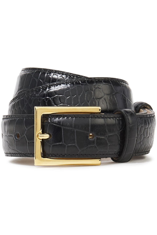 Marc Jacobs | Marc Jacobs Woman Croc-effect Leather Belt Black | Clouty
