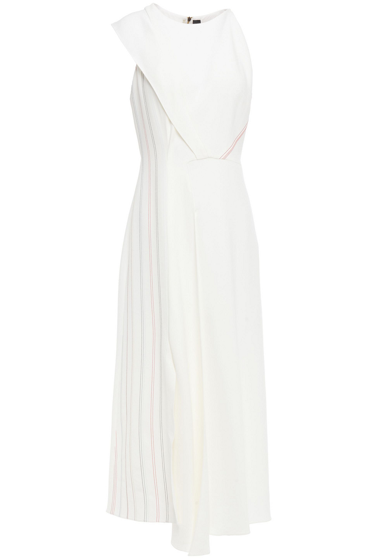 Roland Mouret | Roland Mouret Woman Asymmetric Pleated Stretch-crepe Midi Dress White | Clouty