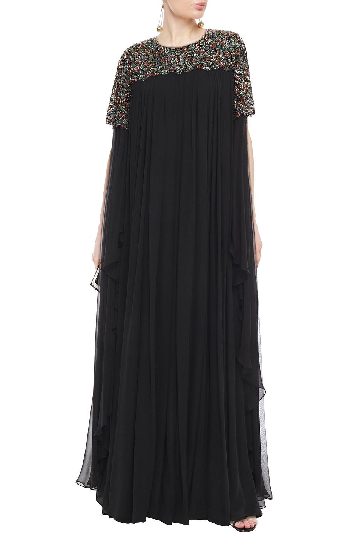 Carolina Herrera | Carolina Herrera Woman Cape-effect Embellished Silk-chiffon Gown Black | Clouty