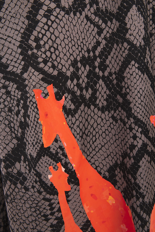 Stella Jean   Stella Jean Woman Shirred Snake-print Satin-crepe Dress Gray   Clouty