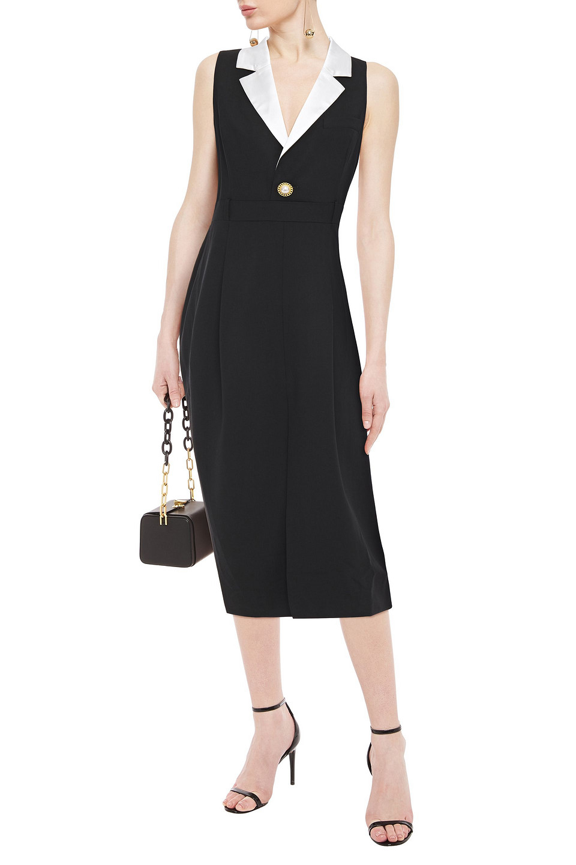 Ronny Kobo | Ronny Kobo Woman Satin-trimmed Pleated Wool-blend Midi Dress Black | Clouty
