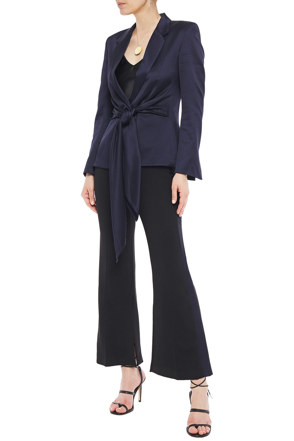 Roland Mouret | Roland Mouret Woman Tie-front Satin-twill Blazer Midnight Blue | Clouty