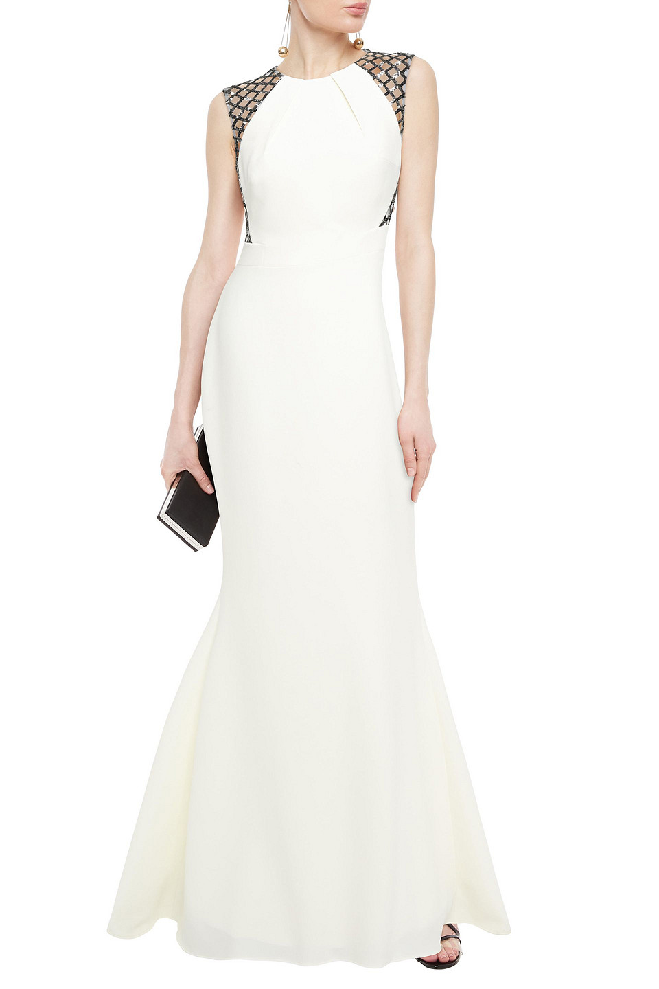 Safiyaa   Safiyaa Woman Cutout Embellished Stretch-tulle And Crepe Gown Ivory   Clouty