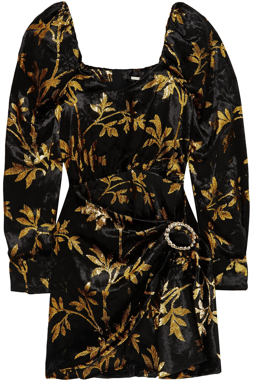 Dodo Bar Or | Dodo Bar Or Woman Mona Draped Metallic Velvet-jacquard Mini Dress Black | Clouty
