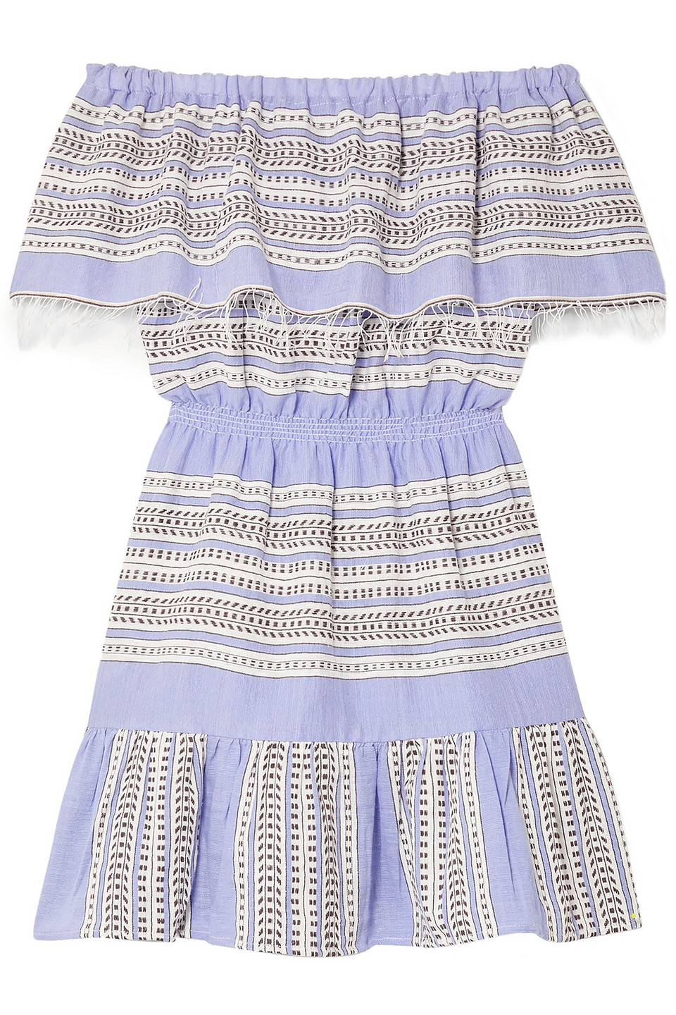 Lemlem | Lemlem Woman Amira Off-the-shoulder Frayed Striped Cotton-gauze Mini Dress Light Blue | Clouty