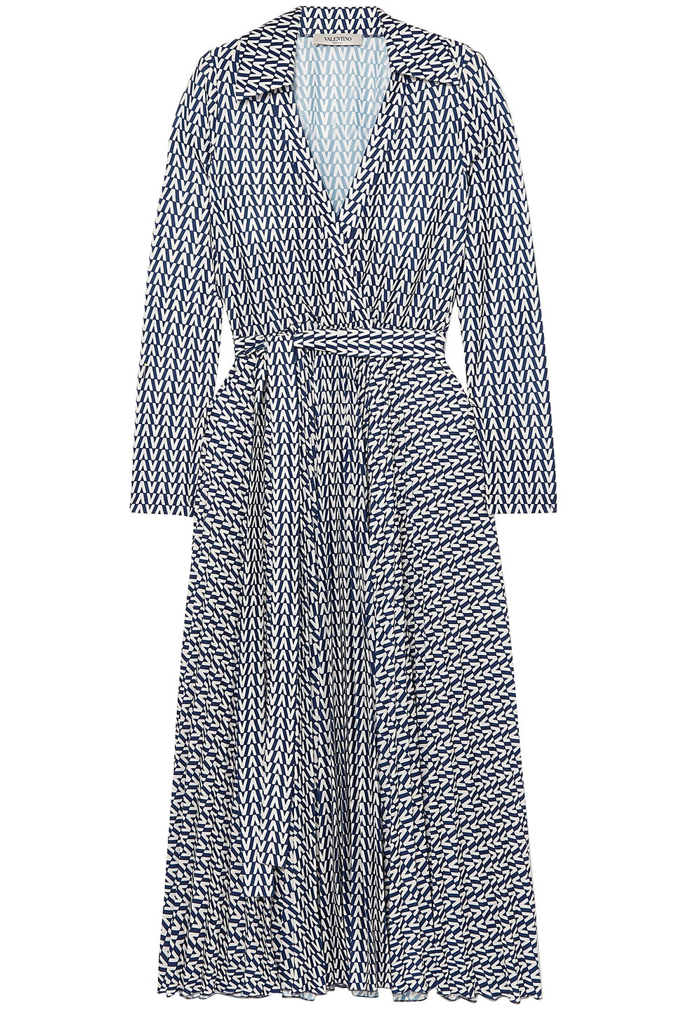 VALENTINO | Valentino Woman Printed Stretch-jersey Wrap Dress Blue | Clouty