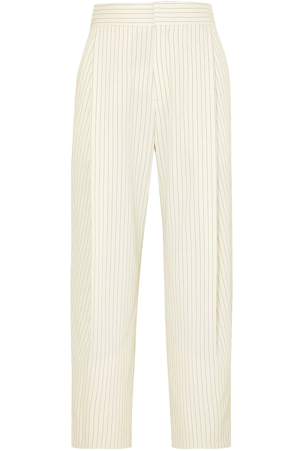 Chloé | Chloe Woman Cropped Pinstriped Woven Tapered Pants Cream | Clouty