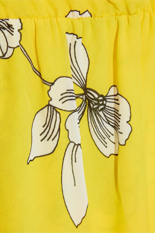 Alice + Olivia | Alice + Olivia Woman Susana Wrap-effect Floral-print Crepe De Chine Mini Dress Yellow | Clouty