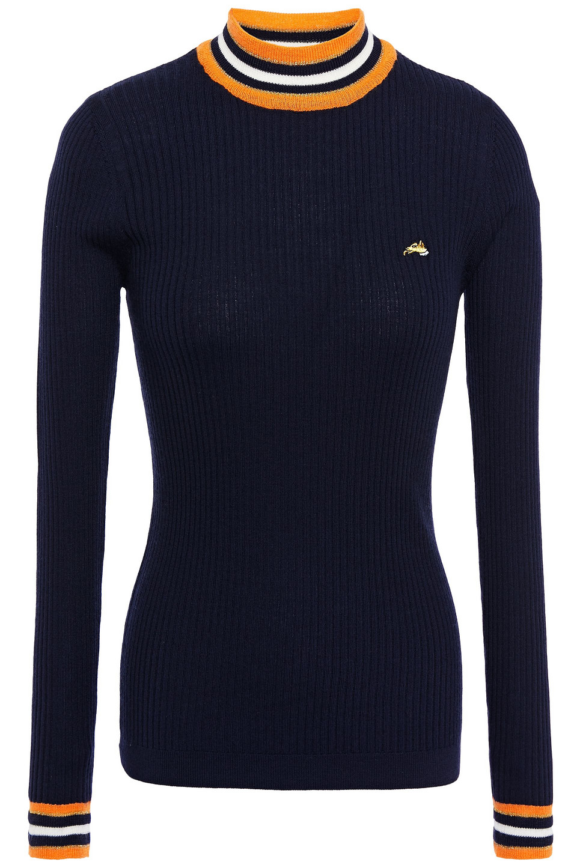 Bella Freud | Bella Freud Woman Striped Ribbed Wool Sweater Navy | Clouty