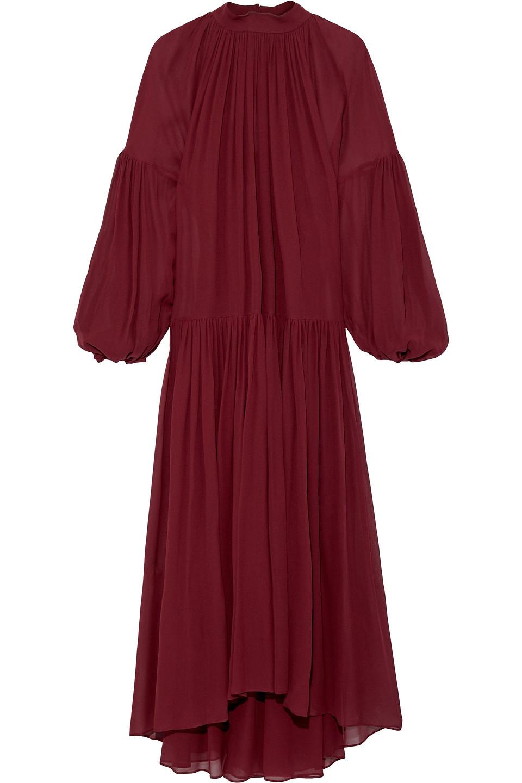 Stella McCartney | Stella Mccartney Woman Tiffany Gathered Silk-chiffon Maxi Dress Burgundy | Clouty