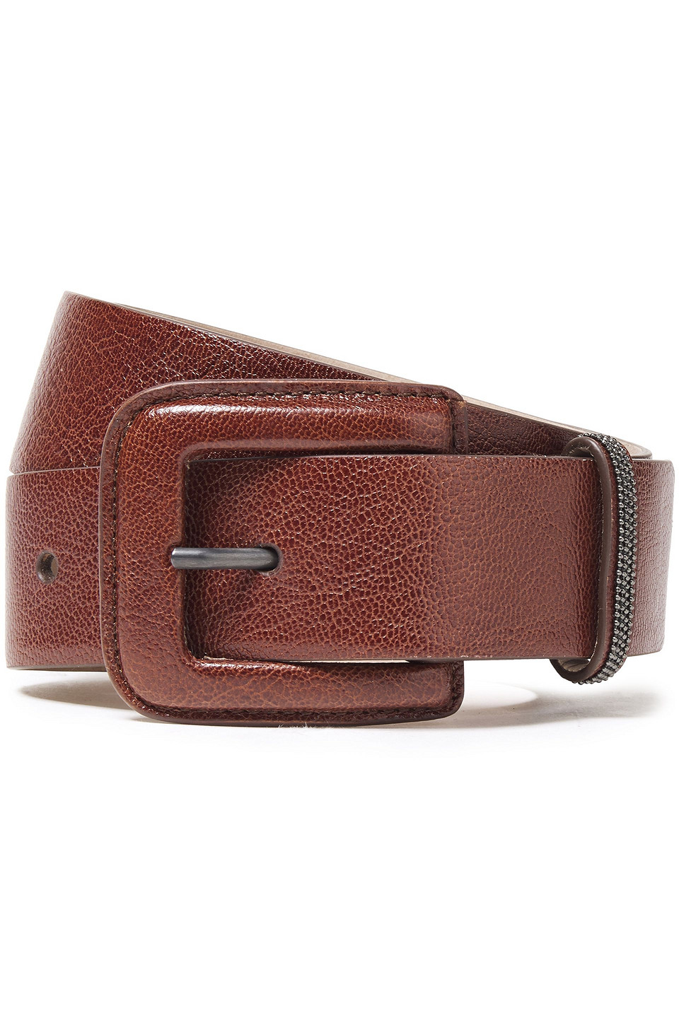 Brunello Cucinelli   Brunello Cucinelli Woman Bead-embellished Leather Belt Brown   Clouty