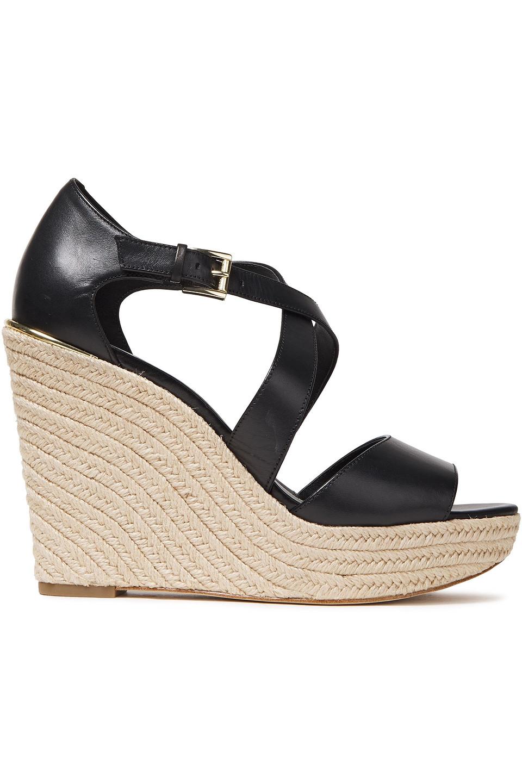 Michael Michael Kors | Michael Michael Kors Woman Abbott Leather Wedge Espadrille Sandals Black | Clouty