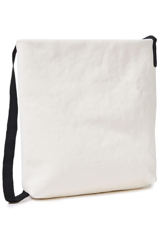 Ann Demeulemeester | Ann Demeulemeester Woman Grosgrain-trimmed Leather Shoulder Bag White | Clouty