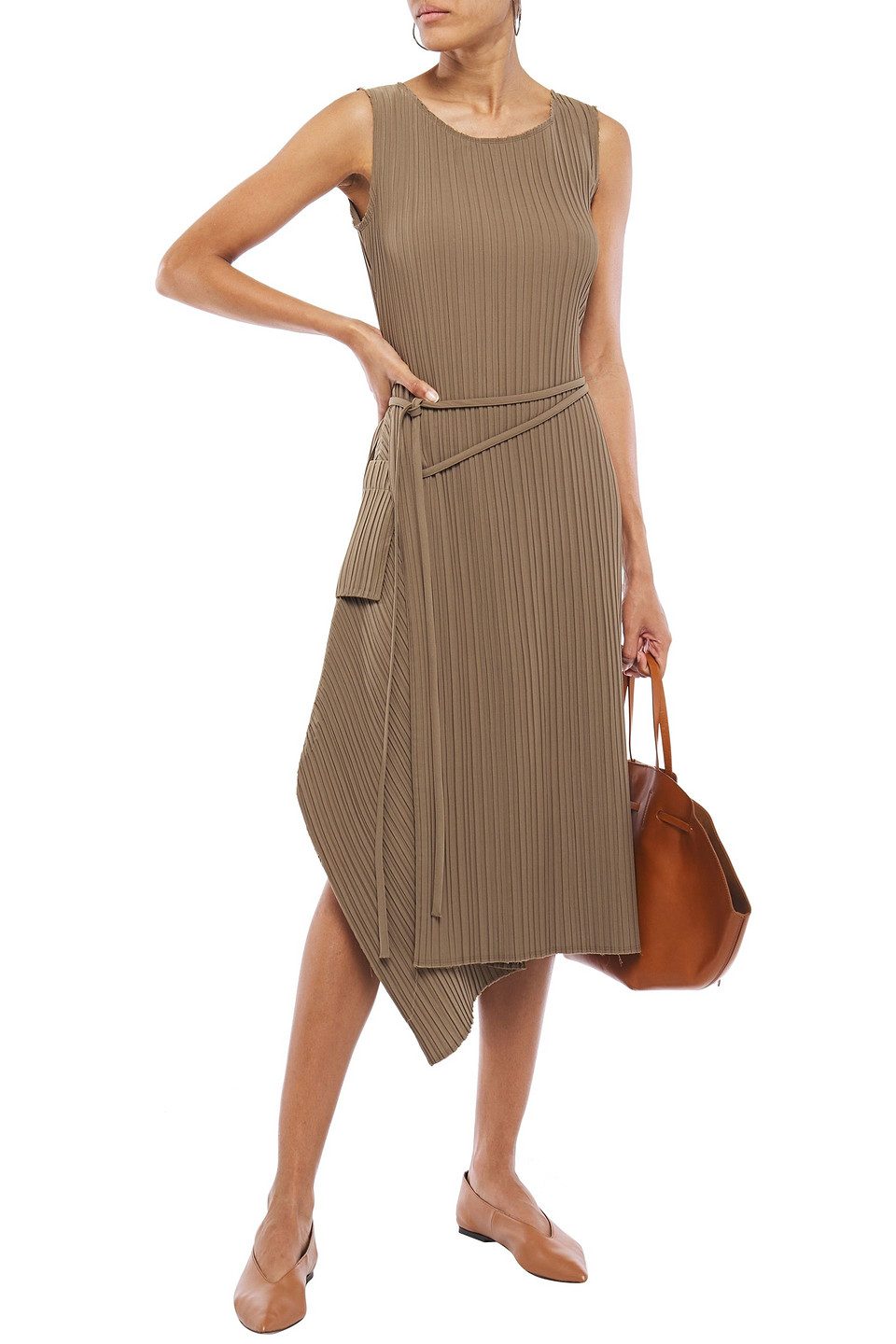 Goen.J | Goen.j Woman Asymmetric Draped Plisse-twill Midi Dress Taupe | Clouty