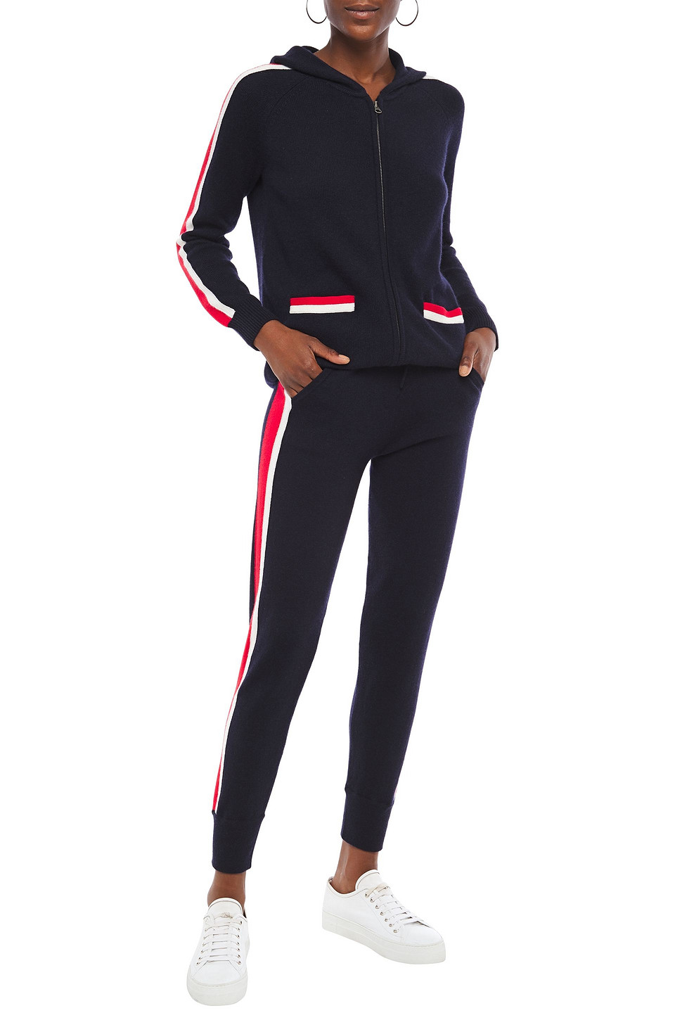 N.Peal | N.peal Woman Striped Cashmere Track Pants Navy | Clouty