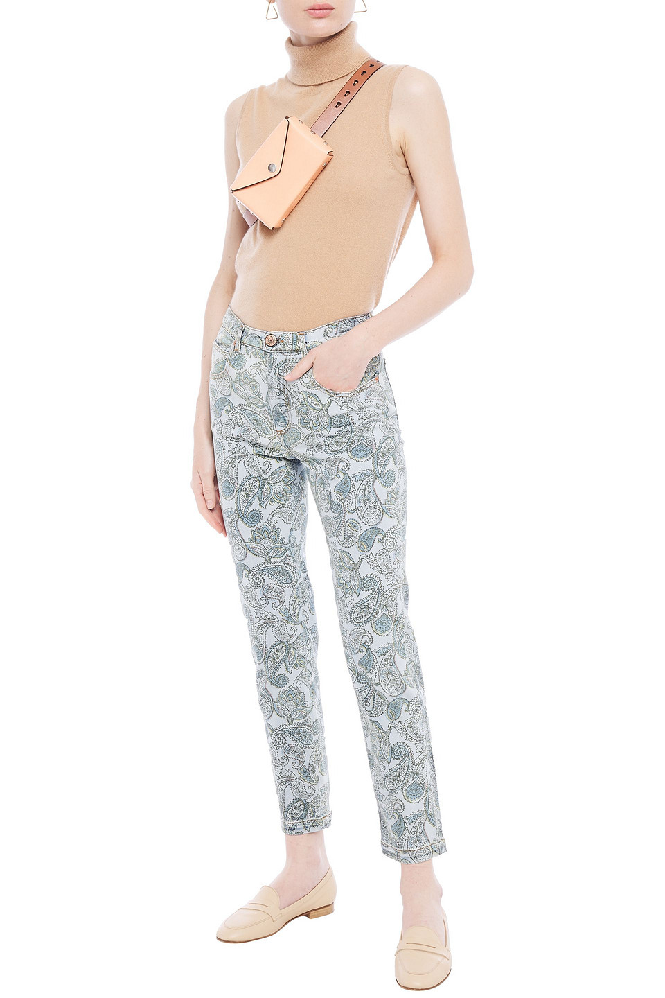 See by Chloé | See By Chloe Woman Printed High-rise Slim-leg Jeans Light Blue | Clouty