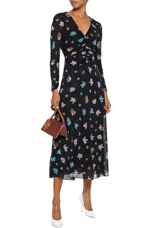 Diane Von Furstenberg | Diane Von Furstenberg Woman Vanessa Ruched Floral-print Stretch-mesh Midi Dress Black | Clouty