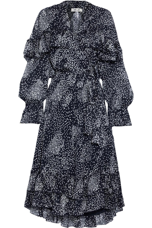 Diane Von Furstenberg | Diane Von Furstenberg Woman Martina Ruffled Printed Georgette Midi Wrap Dress Navy | Clouty