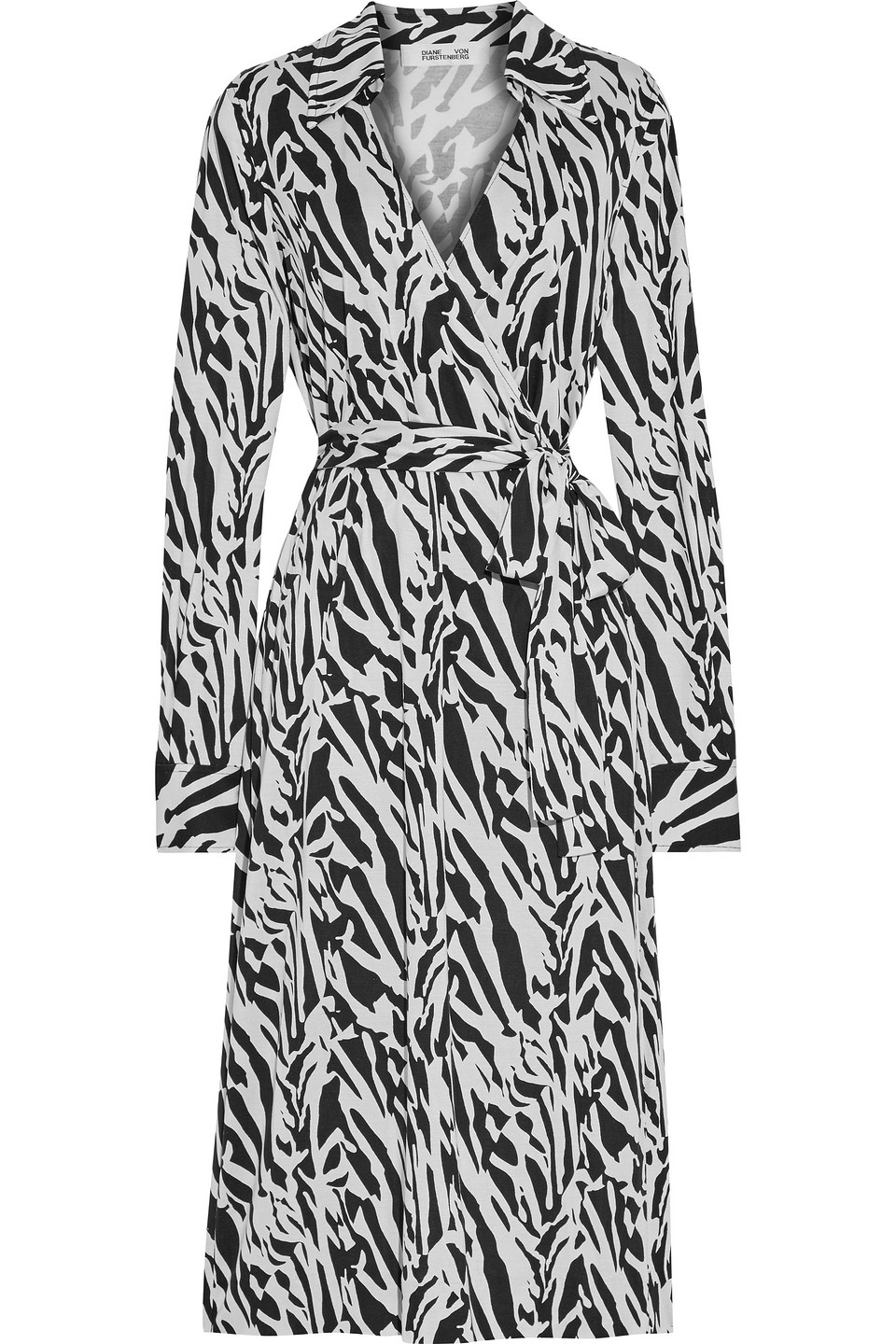 Diane Von Furstenberg | Diane Von Furstenberg Woman Power Wrap-effect Tiger-print Silk-jersey Midi Dress Black | Clouty