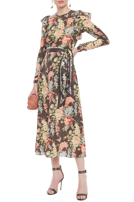 Zimmermann | Zimmermann Woman Espionage Ruffled Floral-print Stretch-silk Crepe Midi Dress Chocolate | Clouty
