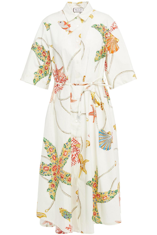 Paul & Joe | Paul & Joe Woman Printed Poplin Midi Shirt Dress Cream | Clouty