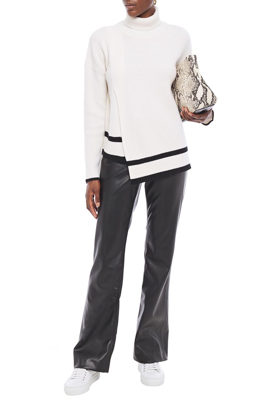 Markus Lupfer | Markus Lupfer Woman Asymmetric Striped Ribbed Wool Turtleneck Sweater White | Clouty