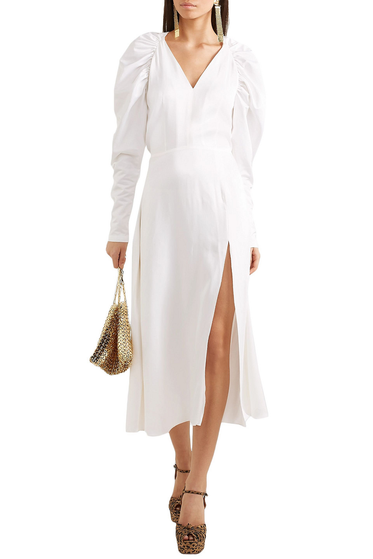 Rotate Birger Christensen | Rotate Birger Christensen Woman Gathered Satin Midi Dress White | Clouty