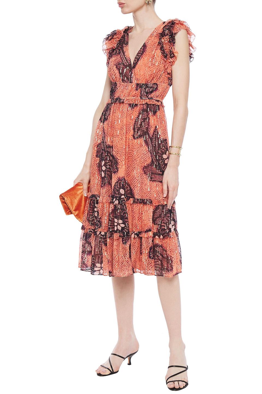 Ulla Johnson | Ulla Johnson Woman Ruffled Fil Coupe Silk And Lurex-blend Georgette Midi Dress Orange | Clouty