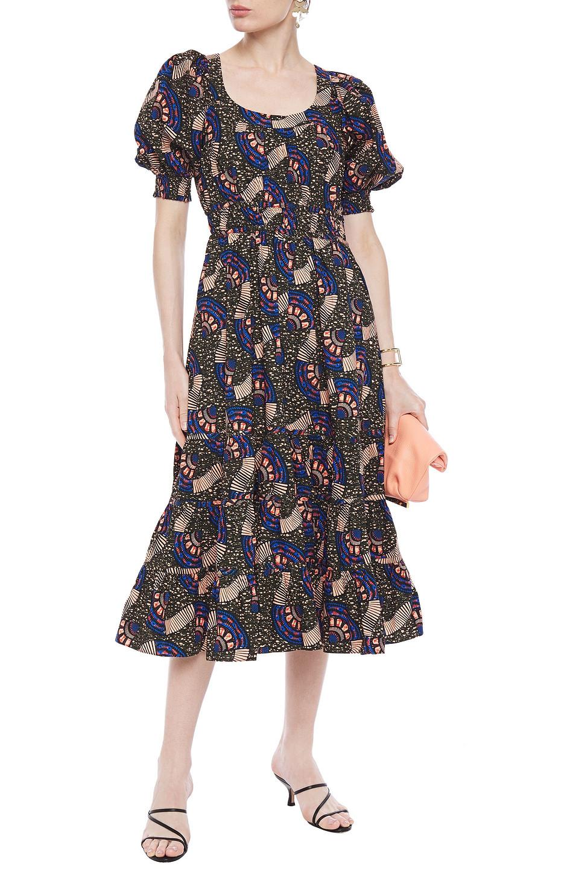 Ulla Johnson | Ulla Johnson Woman Nora Gathered Printed Cotton-poplin Midi Dress Army Green | Clouty