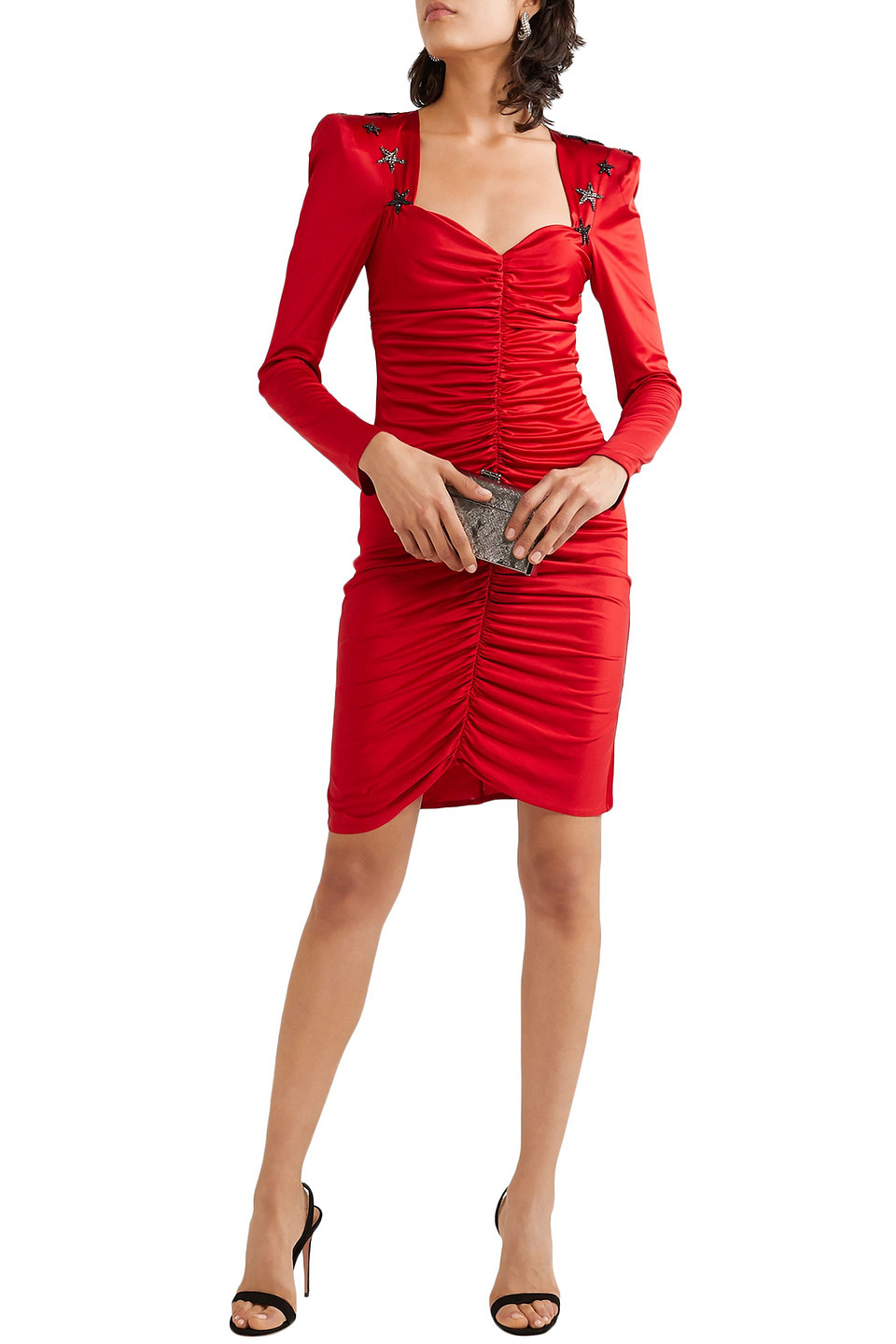 Dundas | Dundas Woman Crystal-embellished Ruched Satin Mini Dress Red | Clouty