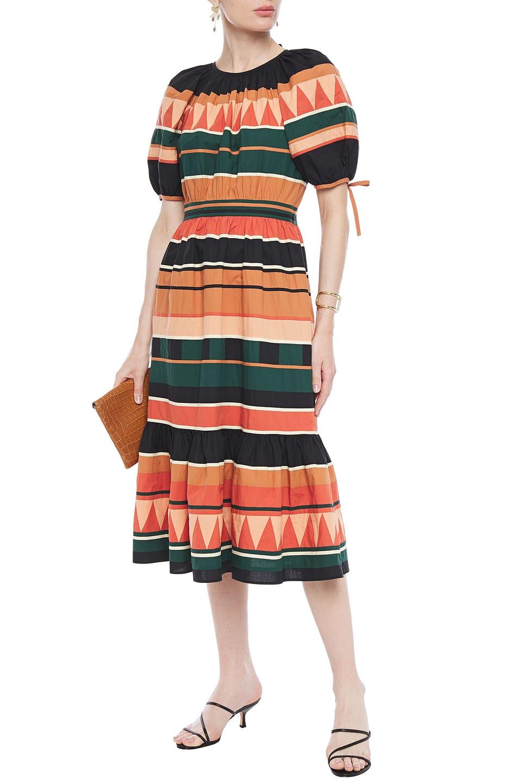 Ulla Johnson | Ulla Johnson Woman Ayta Fluted Striped Cotton-poplin Midi Dress Forest Green | Clouty