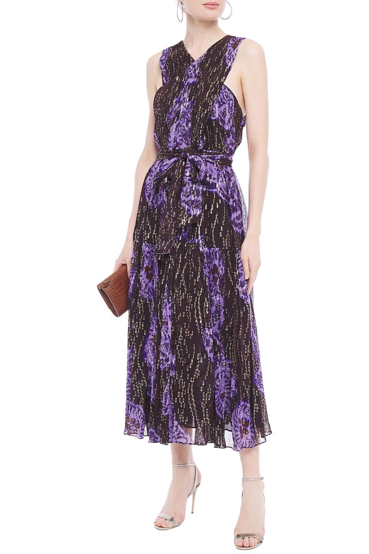Ulla Johnson | Ulla Johnson Woman Adora Pleated Printed Fil Coupe Silk And Lurex-blend Midi Dress Purple | Clouty