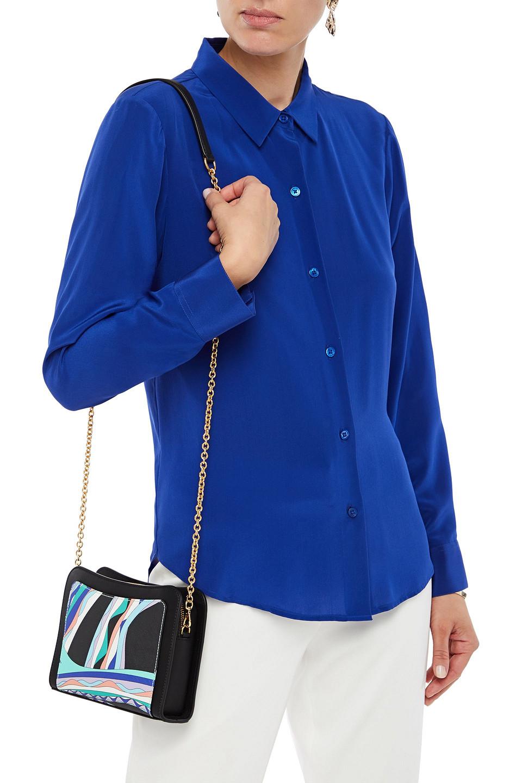 Emilio Pucci | Emilio Pucci Woman Printed Faux Leather Shoulder Bag Black | Clouty